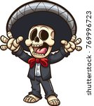 happy mexican skeleton mariachi.... | Shutterstock .eps vector #769996723