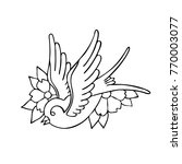 swallow traditional tattoo flash | Shutterstock .eps vector #770003077