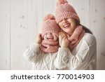 winter portrait of happy loving ... | Shutterstock . vector #770014903