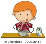little boy having cereal with... | Shutterstock .eps vector #770018467