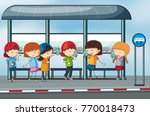 many people waiting at the bus... | Shutterstock .eps vector #770018473