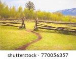 beaten path in turf ends at gap ... | Shutterstock . vector #770056357