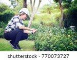 environmental engineer wearing... | Shutterstock . vector #770073727