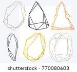 polygonal frames set. gold ...   Shutterstock . vector #770080603