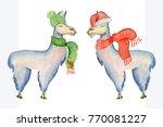 christmas lama illustration...   Shutterstock . vector #770081227