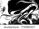 black and white liquid texture. ... | Shutterstock .eps vector #770085427