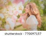 beautiful asian young bride... | Shutterstock . vector #770097157