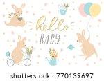 set of cute baby shower four...   Shutterstock .eps vector #770139697