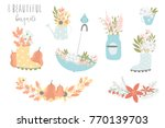 vector set of cute bouquets in... | Shutterstock .eps vector #770139703