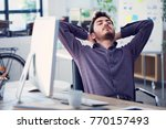 relaxed businessman working  on ... | Shutterstock . vector #770157493