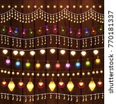 set of glowing christmas lights ... | Shutterstock .eps vector #770181337