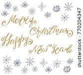 handwritten letters of happy... | Shutterstock .eps vector #770204347