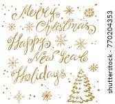 handwritten letters of happy... | Shutterstock .eps vector #770204353