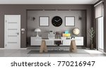 white and brown modern office... | Shutterstock . vector #770216947