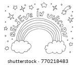 believe in unicorn. text quote. ... | Shutterstock .eps vector #770218483