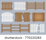 vector set of wooden fence... | Shutterstock .eps vector #770220283