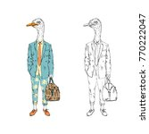 ostrich man dressed up in... | Shutterstock .eps vector #770222047