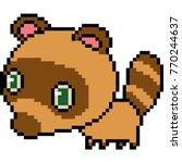 vector pixel art raccoon... | Shutterstock .eps vector #770244637