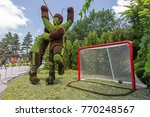 Small photo of GATINEAU, CANADA – AUGUST 27, 2017: A sculpture of ice hockey players celebrating a goal at the MOSAICANADA 150 exhibition celebrating the 150 anniversary of Canada