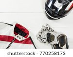 view of motorcycle rider... | Shutterstock . vector #770258173
