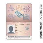 template of an open passport... | Shutterstock .eps vector #770281213