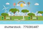 paper art of green landscape... | Shutterstock .eps vector #770281687