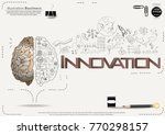 brain   pencil sketch   icon... | Shutterstock .eps vector #770298157