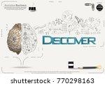 brain   pencil sketch   icon... | Shutterstock .eps vector #770298163