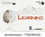 brain   pencil sketch   icon... | Shutterstock .eps vector #770298223