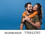 handsome father giving... | Shutterstock . vector #770312707