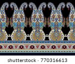 seamless horizontal with paisley | Shutterstock . vector #770316613