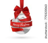 merry christmas  earth icon... | Shutterstock .eps vector #770320063