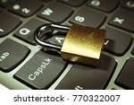 cyber security with lock on... | Shutterstock . vector #770322007