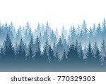 vector misty forest landscape...   Shutterstock .eps vector #770329303