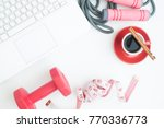 overghead view of workspace... | Shutterstock . vector #770336773