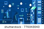 city electricity supply. power... | Shutterstock .eps vector #770343043