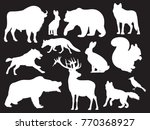 Stock vector wild animals silhouettes of set on black background vector illustration 770368927