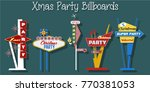 xmas party billboard set | Shutterstock .eps vector #770381053