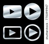silver play button icon vector | Shutterstock .eps vector #770399947
