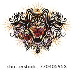 grunge cat head with red hearts ...   Shutterstock .eps vector #770405953