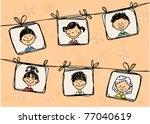 sketches of smiling children in ... | Shutterstock .eps vector #77040619