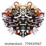 grunge double eagle head symbol....   Shutterstock .eps vector #770419567