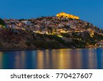 the castle of molyvos against a ... | Shutterstock . vector #770427607