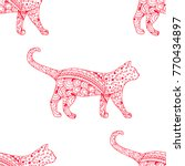 cat. seamless pattern.... | Shutterstock .eps vector #770434897