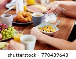 food and people concept   hands ... | Shutterstock . vector #770439643