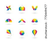 bright colorful icons set with... | Shutterstock .eps vector #770449477