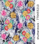 flower pattern with background   Shutterstock . vector #770455213