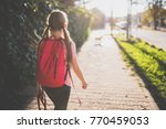 girls wearing red backpack... | Shutterstock . vector #770459053
