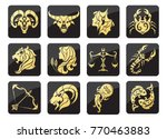 set of golden zodiac signs on a ... | Shutterstock .eps vector #770463883