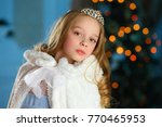 beautiful blonde child girl in... | Shutterstock . vector #770465953